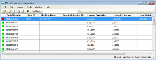 Illustration 3: The LicenseView utility lets you see how many licenses are in use, and by whom.